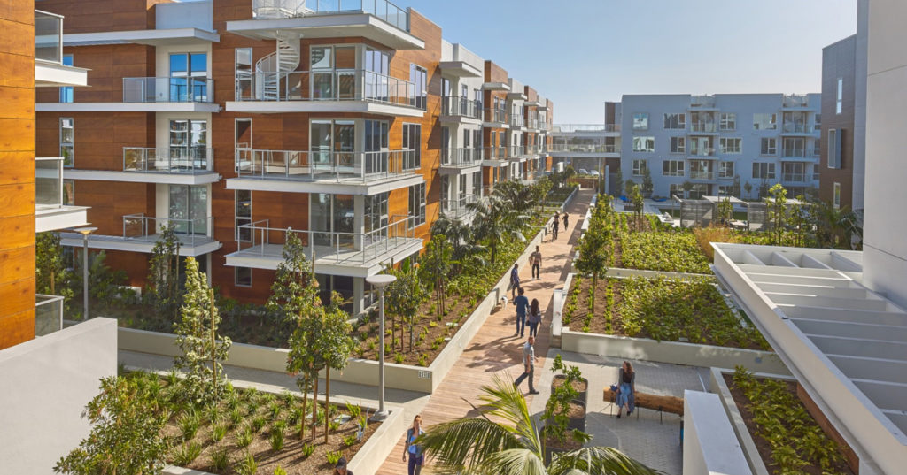 Public space at the Residences at Pacific City